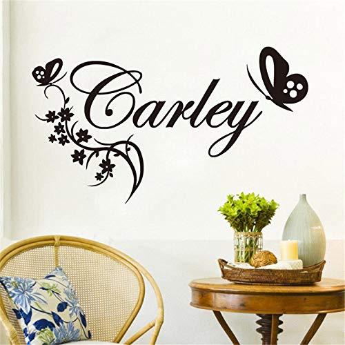 Tattoos-zuhsn butterylies flower nome vinyl wall sticker nome baby gitls camera da letto art decalcomania 74x42cm