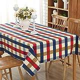 JOMNM Landhausstil Senior Leinwand Runde Rechteck Tischdecken Picknick - Decke, Retro - Tischdecke Für Esszimmer,Café,Hotel. (140X180CM, Blau)