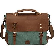 a13cdef68 S-ZONE tela y cuero genuino bolso de la vendimia bolsa de mensajero del  hombro