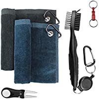 Yotako 2 Pack Microfiber Golf Towels for Golf Bags with Clip,Club Groove Cleaner Brush,Golf Divot Repair Tool with Ball Marker and Pull-Apart Key Ring-Golf Accessories
