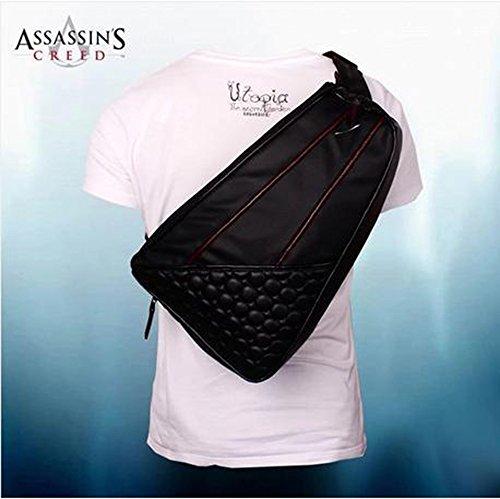 Desmond Messenger Tasche der Schulter PU Bote des Schulter-Travel Gamer schwarz Flagge Rucksack Tasche