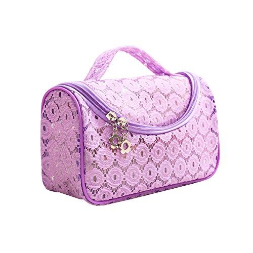 Sweet en dentelle florale étanche Voyage Maquillage Organiseur de sac Sacs de rangement Transparent Coque violet Violet