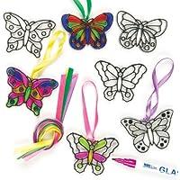 Baker Ross Atrapasoles con Mariposas Decorativas Adornos con Efecto de Cristal Tintado para Ventanas (Pack de 12)