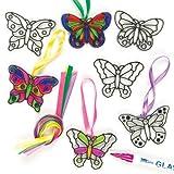 Lot de 12 Vitraux Décoratifs à colorier - Motif Papillon - Idéal comme décoration de Printemps