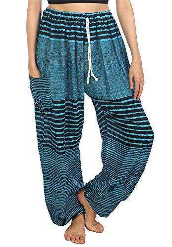 Lofbaz Mujer Racha Cordón Harén Boho Pantalones Azul Claro S