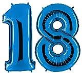 Ballon Zahl 18 in Blau - XXL Riesenzahl 100cm - zum 18. Geburtstag - Party Geschenk Dekoration Folienballon Luftballon Happy Birthday Dunkelblau