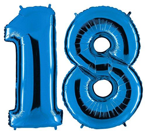 Ballon Zahl 18 in Blau - XXL Riesenzahl 100cm - zum 18. Geburtstag - Party Geschenk Dekoration Folienballon Luftballon Happy Birthday Dunkelblau (Zum Ballons Geburtstag)