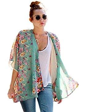 Tongshi Las mujeres de Boho impreso floral de la gasa Mantón kimono Cardigan Tops Cubrir la blusa