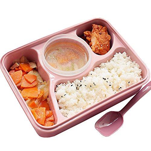 Minidiva Mittagessen Bento Box-Auslauf Mikrowelle und Spülmaschinenfest Lunch Box mit mit 4 + 1 Getrennt Containers (Pink) (Getrennte Behälter)