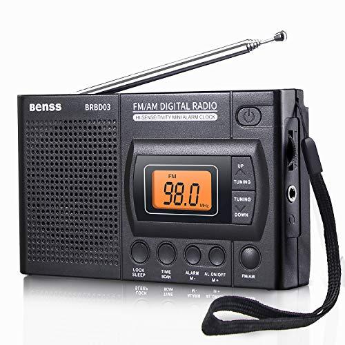 Tragbares Radio Taschenradio Klein AM FM Digitales Radio Pocket Transistor Stereo Radio mit Eingebauten Lautsprechern Digital Wecker und Sleep Timer, Batteriebetrieben (Am Radio Fm Digitales)