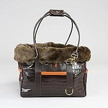 George Barclay Holmsley borsetta in cuoio Pet Carrier–mogano marrone