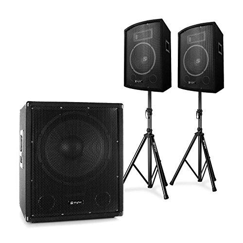 Skytec 2.1 • PA DJ Set • aktiver PA Suboofer mit Bi-Amp und 25cm PA-Lautsprecher Paar • inkl. Stativen • 600W Subwoofer • 2 x 2550W PA-Satelliten-Lautsprecher • Transporttasche • schwarz