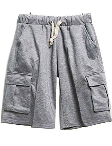 CUKKE Uomo cotone Knitting Shorts Multi Pockets Relax Fit Drawstring Grigio