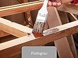 5L Holzlack seidenmatt innen & aussen | BEKATEQ BE-420 Holzschutzfarbe Farbe Holzversiegelung auf Wasserbasis keine Geruchsbelästigung (Platingrau)