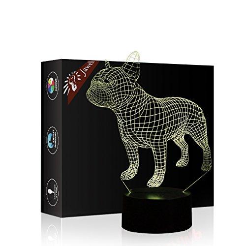 Jawell Lámpara de noche con iluminación 3D, 7 colores cambiantes, interruptor...