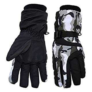 DULEE Unisex Camouflage Winter Waterproof Fleece Lined Thermal Ski Gloves For Snowboard Snowmobile Motorcycle Cycling Skating Outdoor Sports,Army Green