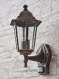 Antik-Goldene Außenwandleuchte mit Bewegungsmelder LE2/1/888 Wandlampe Hoflampe Außenleuchte Sensor