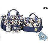 GARY&GHOST-0104A-Set 5 Kits Bolso de Bebé Cambiador a Juego Todo en Uno, 41x32x19 cm, Color Azúl de Hojas