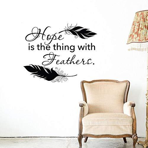 Hoffnung ist die Sache mit Federn Wall Decal Zitat inspirierende Zitat Vinyl Wandaufkleber Zitate Tribal Feather Home Decor52 * 42 (Für Halloween Kreative Sachen)
