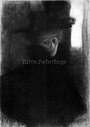 GUSTAV KLIMT LADY WITH A HAT AND CAPE BY KLIMT ARTISTA QUADRO DIPINTO OLIO TELA 60x40cm qualita museo