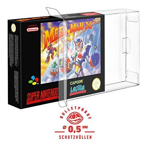 5 Klarsicht Schutzhüllen SUPER NINTENDO [5 x 0,5MM [ARMOURED] SNES OVP] Spiele Originalverpackung Passgenau Glasklar (Metroid Prime 2 Wii)