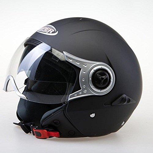 MOTORRADHELM VIPER RS-18 ROLLERHELM JETHELM - MIT VISIER (S, MATT SCHWARZ)
