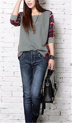 BESTHOO Chemisier Col Rond Femme Manche Longue Blouse Coton Col Chemise T-shirt à Carreaux Automne Top Tunique Casual Grey