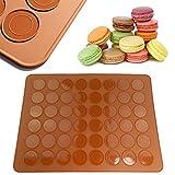 JJOnlineStore Silikon-Backmatte für 24 Macarons, 48 Mulden, 39 x 29 cm, Braun