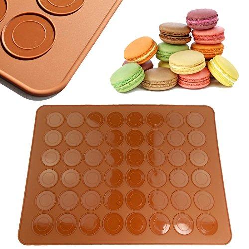 JJOnlineStore, antihaftbeschichtet Macaron Silikon Backmatte für 24perfekt Macarons, 48Mulden Formen–39x 29cm/39,1x 29cm Zoll–Braun