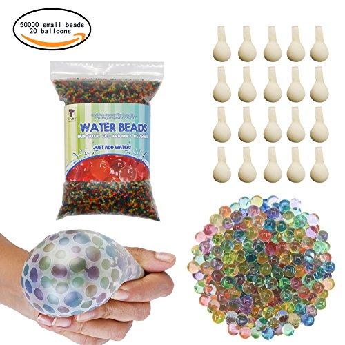 TOAOB 50000pcs Aqualinos Perlen Wasserperlen Gelperlen Wachsende Kristallboden mit 20pcs Wasserballons für Sensorische Spielzeug und als Deko für Blumenvase