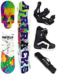 AIRTRACKS SNOWBOARD SET - TABLA SKULLY WIDE ROCKER 152 - FIJACIONES SAVAGE - BOTAS STRONG 38 - SB BOLSA/ NUEVO