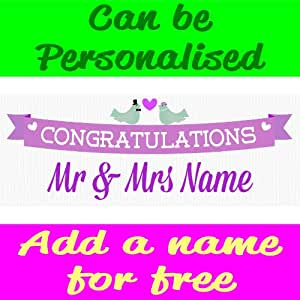 Wedding Congratulations PVC Banner With Eyelets Available in 3 Sizes (this size is 6FT x 2FT)