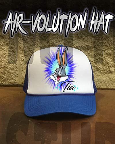 Mythic Airbrush Personalisierte Airbrush Bugs Bunny Snapback Trucker-Mütze Eine Grösse passt allen Schwarzer Hut