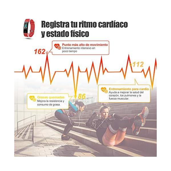 Glymnis Pulsera de Actividad Inteligente Pulsera Deportiva IP68 con 14 Modos de Deporte Notificaciones Monitor Rítmo Cardíaco y Sueño para Hombre Mujer Niño Compatible con iOS y Android 9
