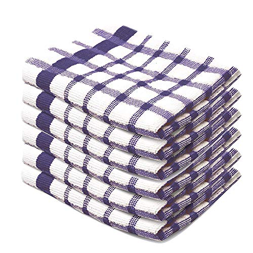 """Xelay 100% Cotton Terry Tea Towel Egyptian, Wonderdry Soft Monocheck Black/White Jumbo Thick Kitchen Dish Cleaning Drying Cloth Pack of 3, 4, 5, 6, 10, 15 - 35cm x 60cm (Purple Pack of 6, 14"""" x 24"""")"""