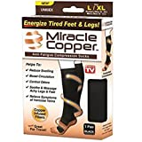 Happy Star® Miracle Copper Anti-Fatigue Compression Unisex Mens Womens Flight Travel Socks Anti Swelling DVT Support (Large / X Large)