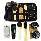 Kit de nettoyage de chaussures de polissage avec des brosses chaussures en cuir professionnel soins cheval cheveux éponge brosse de polissage tissu portatif en bois de plage cadeau de voyage neutre
