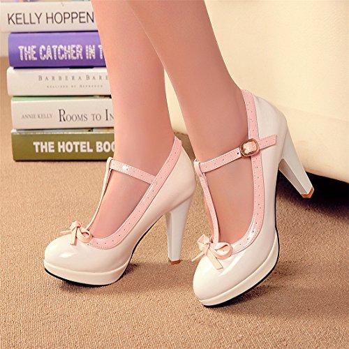 YE Damen T Strap Lackleder Pumps Blockabsatz High Heels Plateau mit Schleife und Riemchen Süß 8cm Absatz Schuhe Weiß
