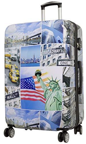 Trendyshop365 Hartschalen Reise-Koffer mit Motiv Bedruckt - New York USA - 77 Zentimeter 101 Liter 4 Rollen Städtemotiv