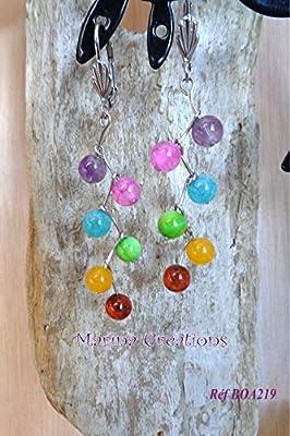 Boucles d'oreilles colorées crochets dormeuses acier inoxydable, gemmes multicolores