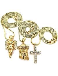 14e6883c6874 Juego de cadena chapada en oro de 14 quilates con Jesucristo cristiano  Juego de collar de Jesús