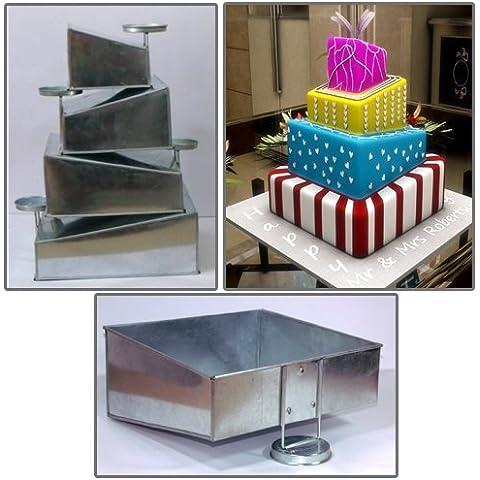 EURO TINS molde Topsy Turvy Cuadrado para tarta de boda de 4 pisos - juego de 4