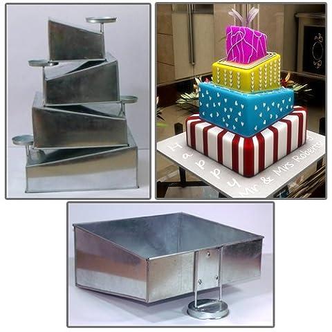 Topsy incliné à 4étages carré gâteau casseroles Boîtes New Design by Eurotins 15,2cm 20,3cm 25,4cm 30,5cm