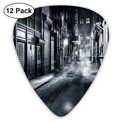 Guitar Picks - Abstract Art Colorful Designs,Moody Monochrome View Of Cortlandt Alley Chinatown New York City Dark Urban Scenery,Unique Guitar Gift,For Bass Electric & Acoustic Guitars-12 Pack (Halloween Blues Moody)
