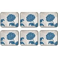 Jason Chrysanthemum Blue Coasters - Set of 6
