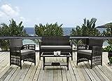 XONE Set da giardino MYERS in polyrattan e acciaio - Set divano e 2 poltrone con tavolino e cuscini sfoderabili