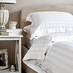 White Cotton 220 TC Satin Stripped Premium Quilt/Duvet Cover with Zipper (60