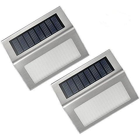 VicTsing 2 unidades luces/lámparas LED con carga solar para exteriores.Ideal para escaleras, luz de paso, patios, caminos, jardines. Accesorio-