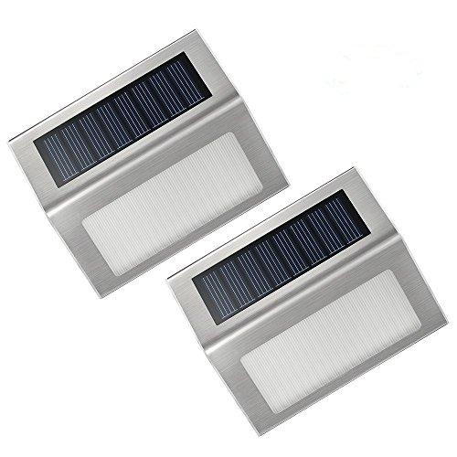 VicTsing 2 Unidades Luces/lámparas LED con Carga Solar para Exteriores.Ideal para escaleras, luz de Paso, Patios, Caminos, Jardines. Accesorio- Blanco