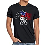 style3 King of The Road Herren T-Shirt Amerika America Muscle Car, Größe:XXXL;Farbe:Schwarz